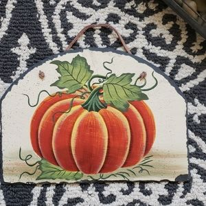 Toll Painting of Pumpkin on Hanging Slate